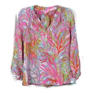 Lilly Pulitzer Elsa Blouse Silk Print Pastel Top